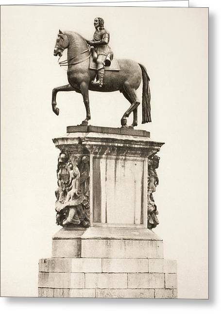 Statue Of King Charles I By Hubert Le Greeting Card by Vintage Design Pics