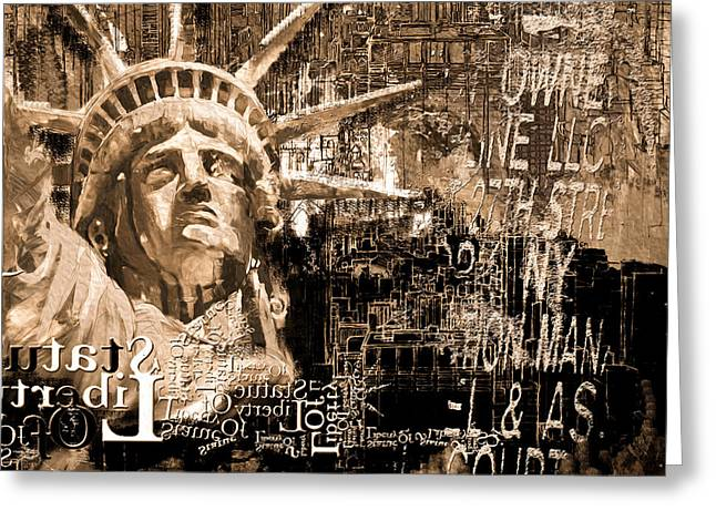 Statue Of Liberty 204 4  Greeting Card by Mawra Tahreem