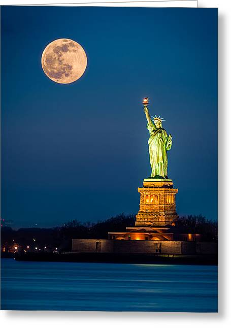 Statue Of Liberty And A Rising Supermoon In New York City Greeting Card