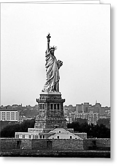 Statue Of Liberty Black And White Greeting Card by Kristin Elmquist
