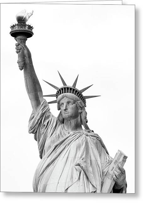 Statue Of Liberty, Black And White Greeting Card by Sandy Taylor