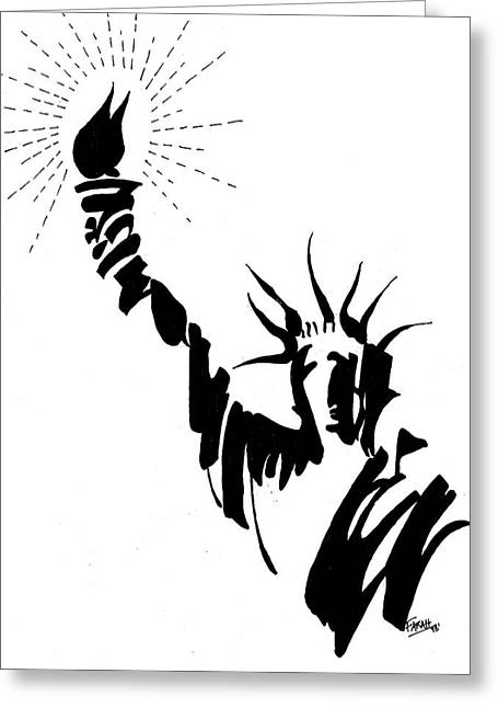 Statue Of Liberty Greeting Card by Farah Faizal