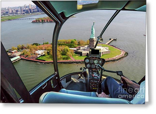 Statue Of Liberty Helicopter Greeting Card