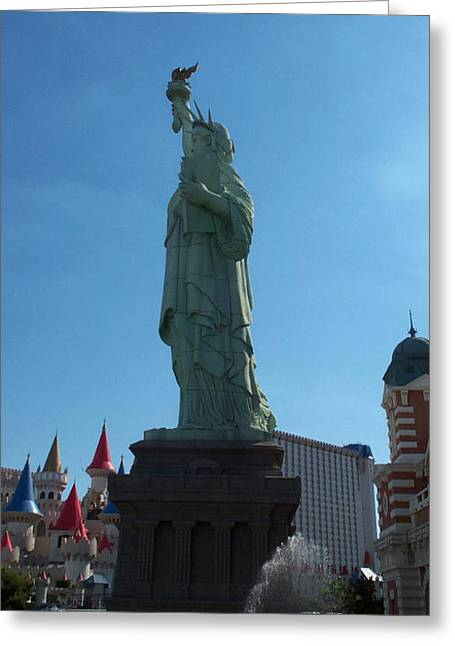 Statue Of Liberty Las Vegas Greeting Card by Alan Espasandin