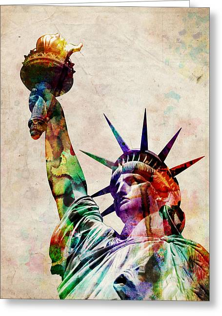 Landmarks Tapestries Textiles Greeting Cards - Statue of Liberty Greeting Card by Michael Tompsett