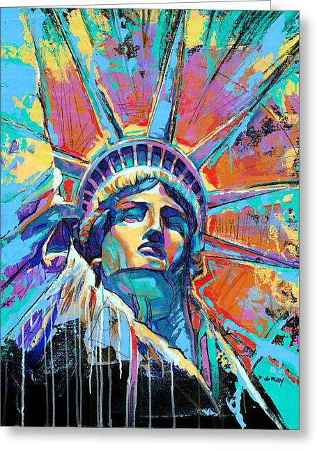 Statue Of Liberty New York Art Usa Greeting Card