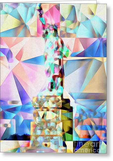 Statue Of Liberty New York In Abstract Cubism 20170327 Greeting Card by Wingsdomain Art and Photography