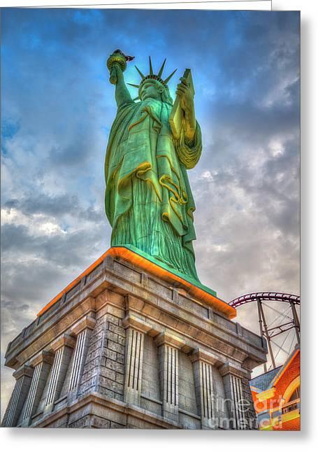 Statue Of Liberty New York-new York Hotel 3 Greeting Card