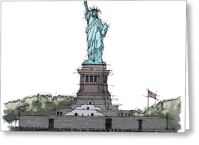 Statue Of Liberty, New York Sketch Greeting Card by Pablo Franchi
