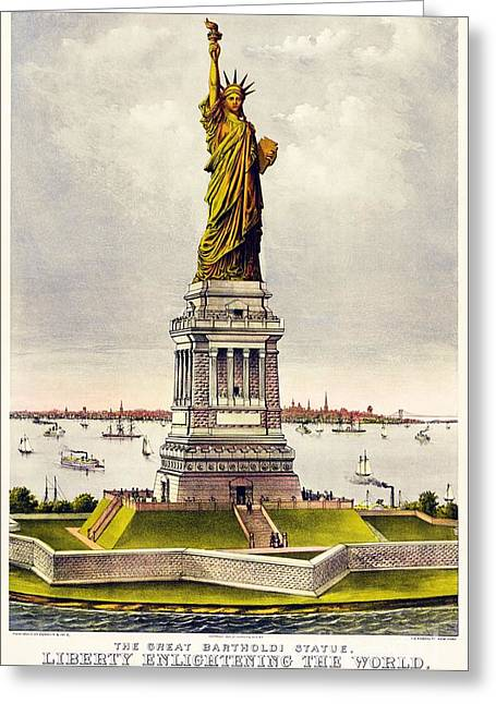 Statue Of Liberty Greeting Card by Pg Reproductions