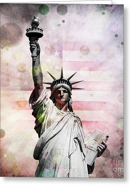 Greeting Card featuring the digital art Statue Of Liberty by Phil Perkins