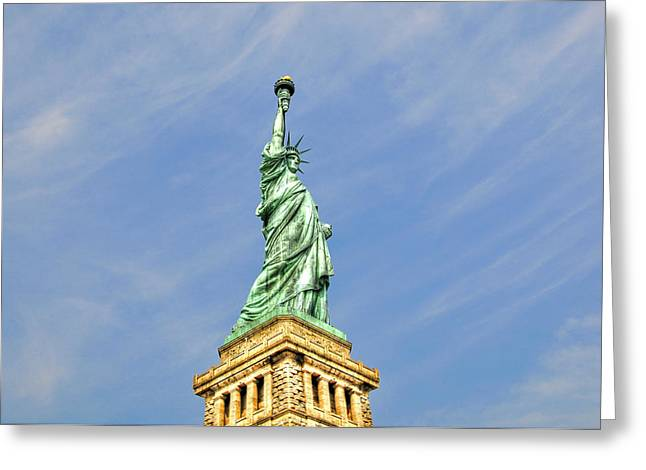 Statue Of Liberty Greeting Card by Randy Aveille