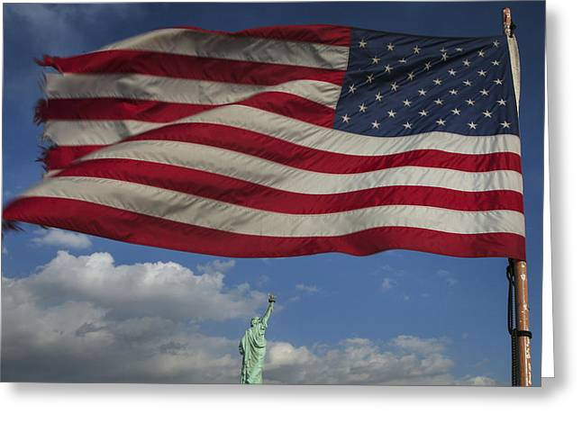 Statue Of Liberty Under The Flag Greeting Card