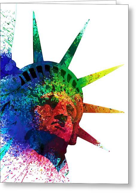 Statue Of Liberty Watercolor Greeting Card by PixBreak Art
