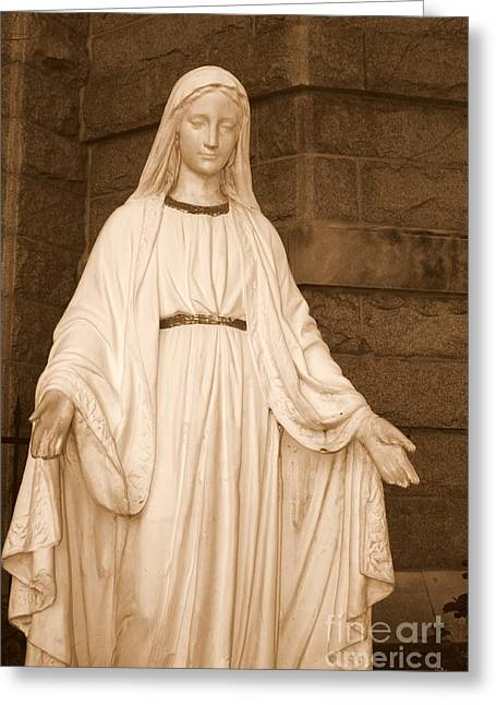 Statue Of Mary At Sacred Heart In Tampa Greeting Card by Carol Groenen