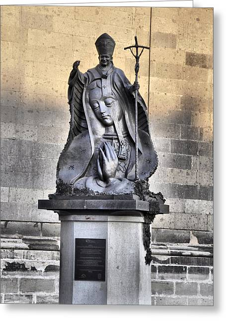 Statue Of Pope John Paul Greeting Card by Jim Walls PhotoArtist