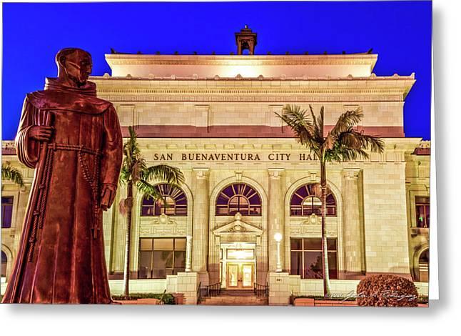 Statue Of Saint Junipero Serra In Front Of San Buenaventura City Hall Greeting Card