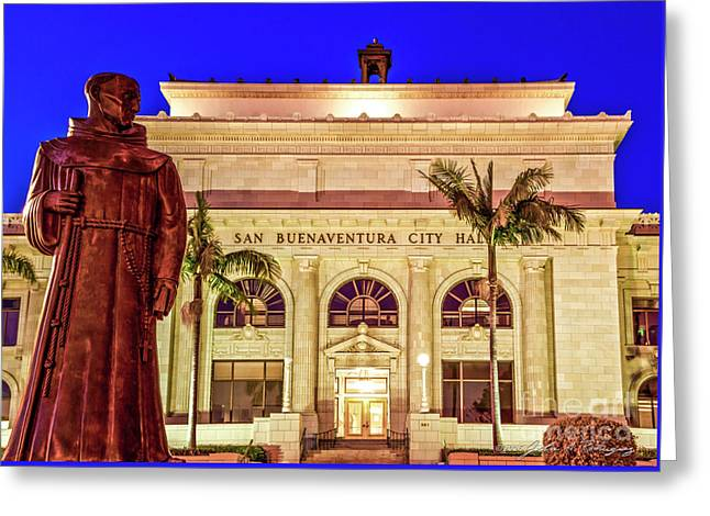 Statue Of Saint Junipero Serra In Front Of San Buenaventura City Hall Greeting Card