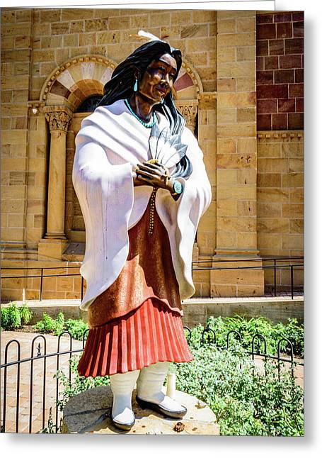 Statue Of Saint Kateri Tekakwitha - The Cathedral Basilica Of St Francis Of Assisi - Santa Fe - New  Greeting Card