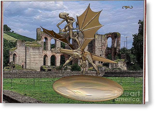 Statue Of Spirit Astride A Dragon Greeting Card by Pemaro