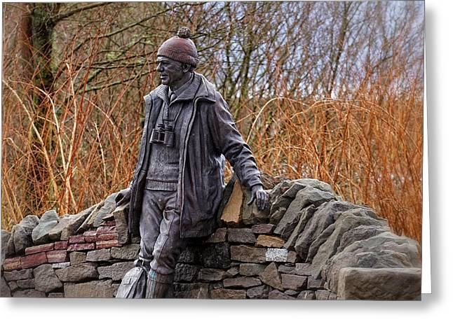 Greeting Card featuring the photograph Statue Of Tom Weir by Jeremy Lavender Photography