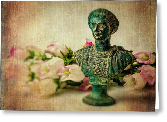 Statue With Campanula Flowers Greeting Card by Garry Gay