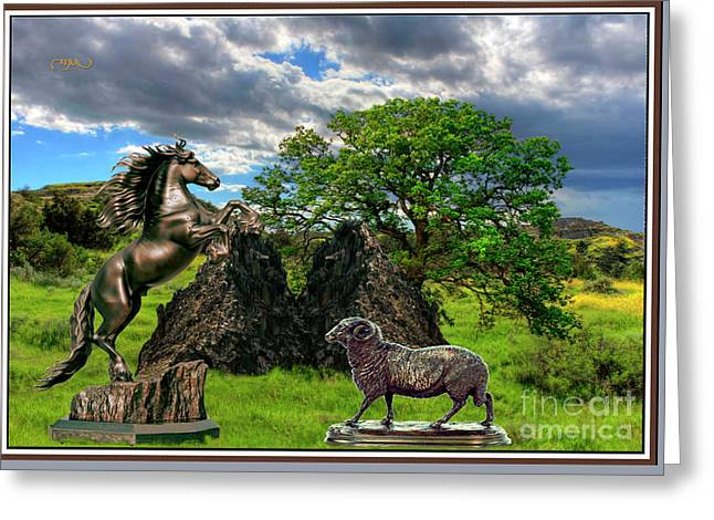 Statues In The Park Greeting Card by Pemaro