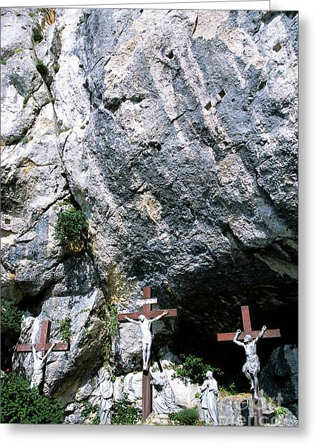Statues Of Jesus Christ On The Cross At The Christian Pilgrimage Site Of La Sainte-baume Greeting Card by Sami Sarkis