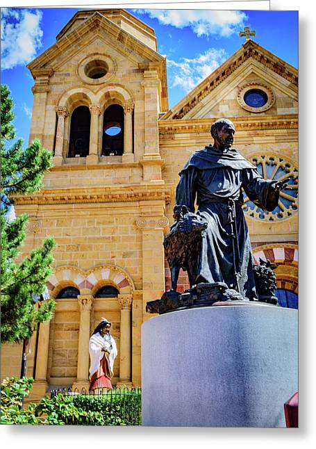Statues Of Saint Kateri Tekakwitha And St Francis Of Assisi - The Cathedral Basilica Of St Francis O Greeting Card