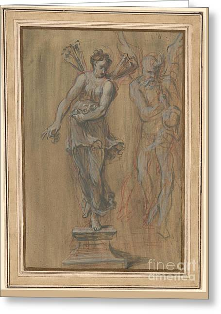 Statues Of Spring And Time Greeting Card