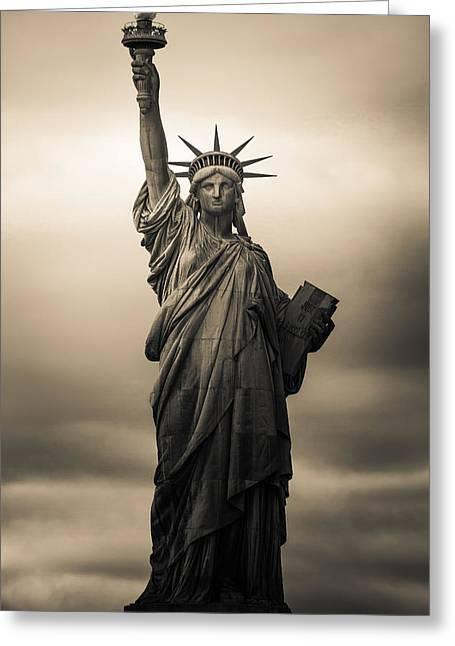 Statute Of Liberty Greeting Card by Tony Castillo