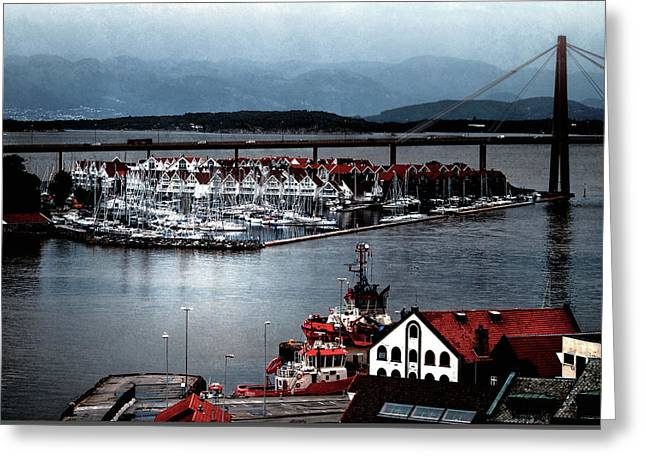 Greeting Card featuring the photograph Stavanger Harbor by Jim Hill
