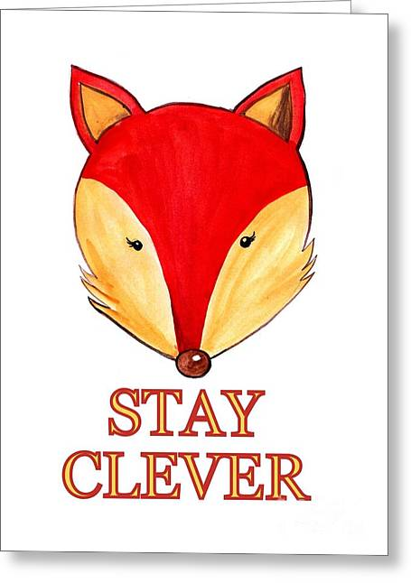 Stay Clever Greeting Card by Sweeping Girl