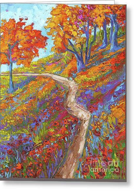 Greeting Card featuring the painting Stay On The Path - Modern Impressionist, Landscape Painting, Oil Palette Knife by Patricia Awapara