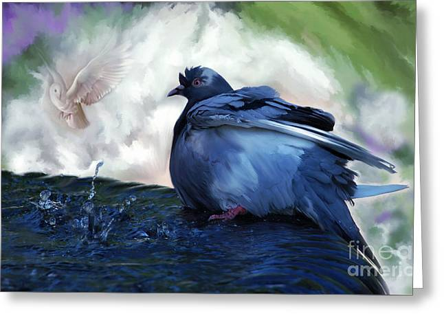 Greeting Card featuring the painting Staying Cool by Elaine Manley