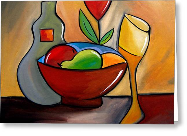 Staying In - Abstract Wine Art By Fidostudio Greeting Card by Tom Fedro - Fidostudio