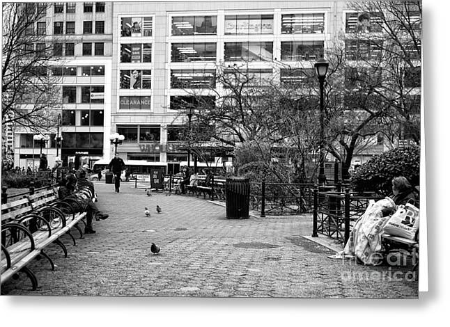 Staying Warm In Union Square Park Greeting Card by John Rizzuto