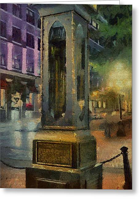 Greeting Card featuring the digital art Steam Clock Gastown by Jim  Hatch