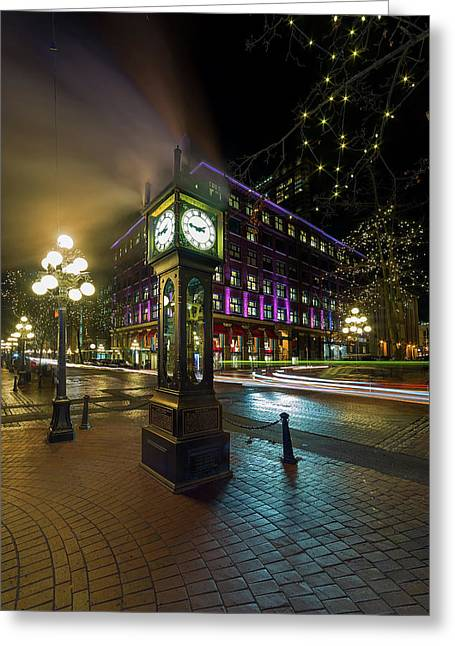 Steam Clock In Gastown Vancouver Bc At Night Greeting Card
