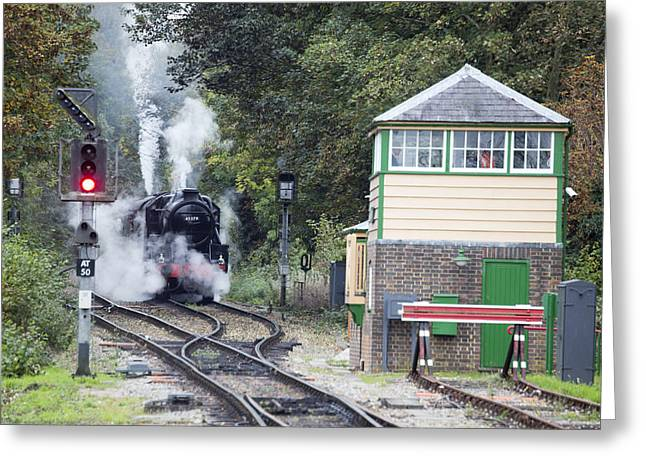 Steam Engine Approaching Alton Greeting Card