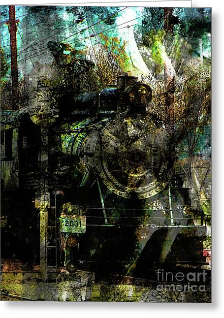 Steam Engine At Bay Greeting Card by Robert Ball