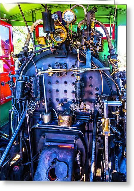Steam Engine Controls Greeting Card by Garry Gay