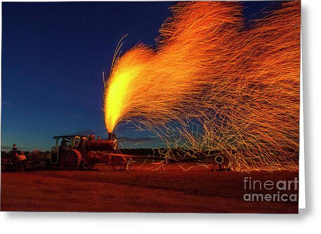 Steam Engine Creates Fireworks Greeting Card