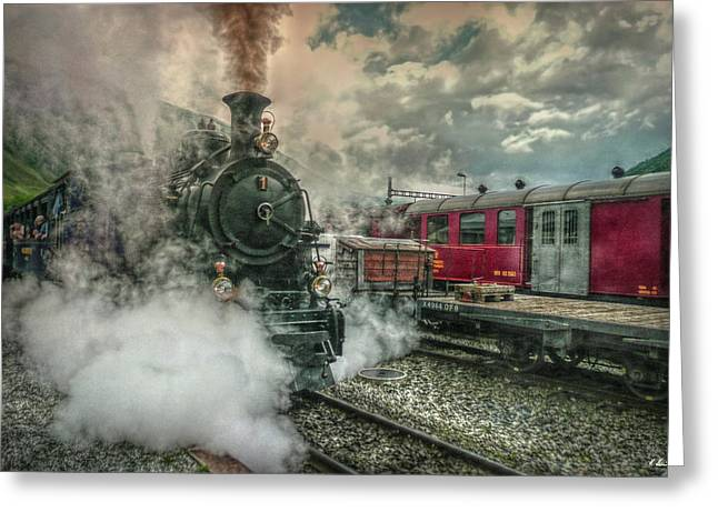 Steam Engine Greeting Card by Hanny Heim