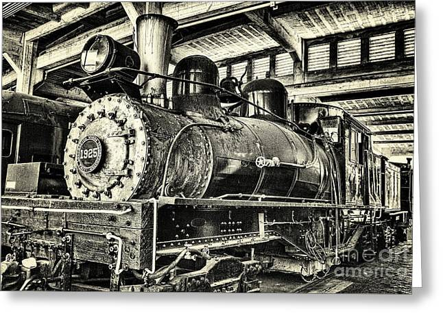 Greeting Card featuring the photograph Steam Engine Train 1925 Lima Locomotive Bw by Dan Carmichael
