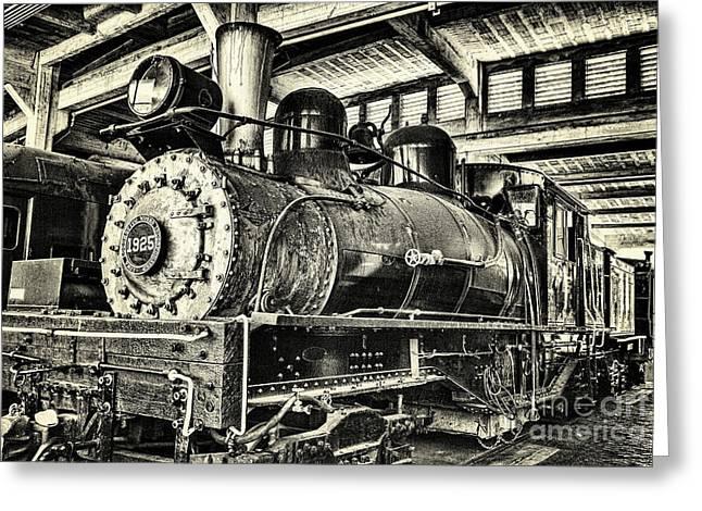 Steam Engine Train 1925 Lima Locomotive Bw Greeting Card by Dan Carmichael