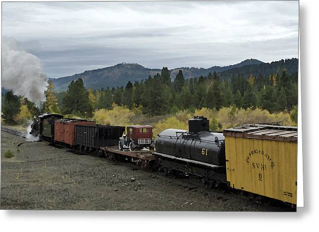 Steam Freight Train Watercolor Greeting Card by Stephen  Thompson