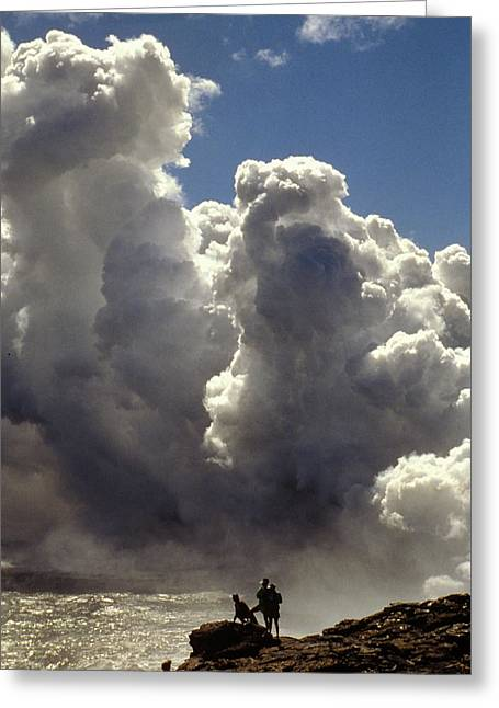 Greeting Card featuring the photograph Steam From Hot Lava by Carl Purcell