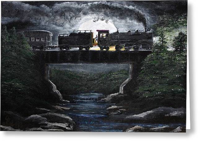 Jeffrey burns greeting cards greeting card featuring the painting steam in the night by jeffrey burns m4hsunfo