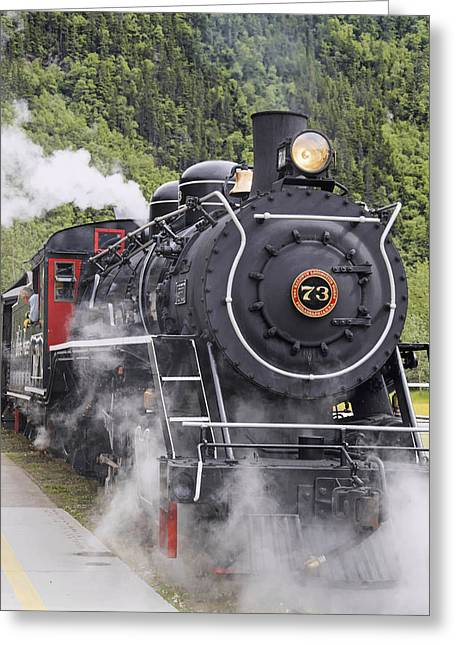 Steam Locomotive  73 At Downtown Depot Greeting Card by Harry M. Walker
